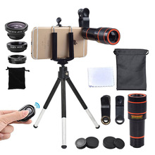 Camera Kit 12X Zoom Lens for Smartphone Telescope Camera Lente Phone Telescope Fisheye Macro Lens Tripod Clip Bluetooth