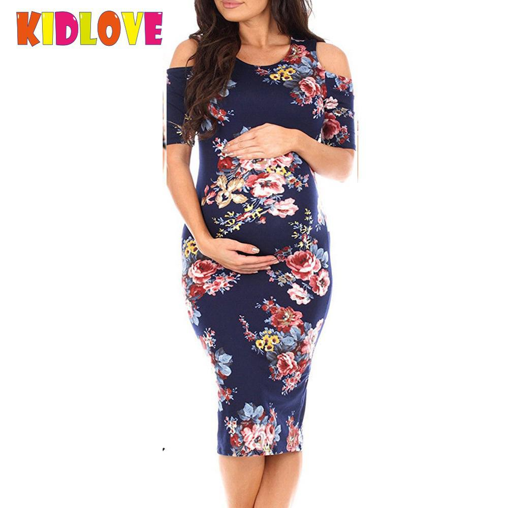 Kidlove Women Pregnant Stylish Off-shoulder Dress Flower Printing Round Collar Beach Wear SAN0