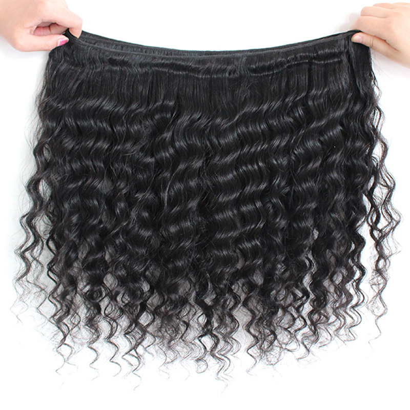 Allove Brazilian Deep Wave Hair 3 Bundles With Closure Remy Hair Bundles Middle Part Lace Closure Free Shipping Natural Color