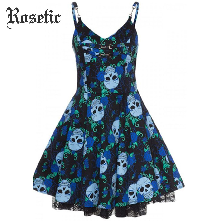 Rosetic Gothic Lace Dress Women Skull Print Sexy Summer Black See Through Mini Dress Female Backless Blue Goth Party Dresses blau gothic kleid