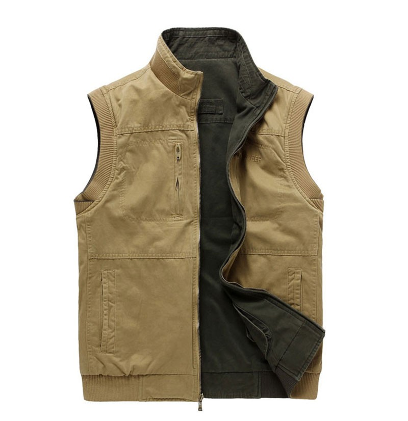 M~3XL 2015 Autumn Spring Reversible Casual Men Vest Coat AFS JEEP Cotton Pocket Cargo Outdoor Sleeveless Jackets Waistcoat Vests (9)