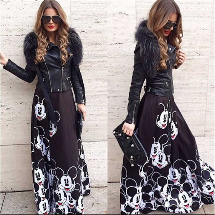 ATKULLQZ Foreign Trade Boutique Women's Speed Explosion Models Summer New Sweet High Waist A Word Printing Skirt Long Section