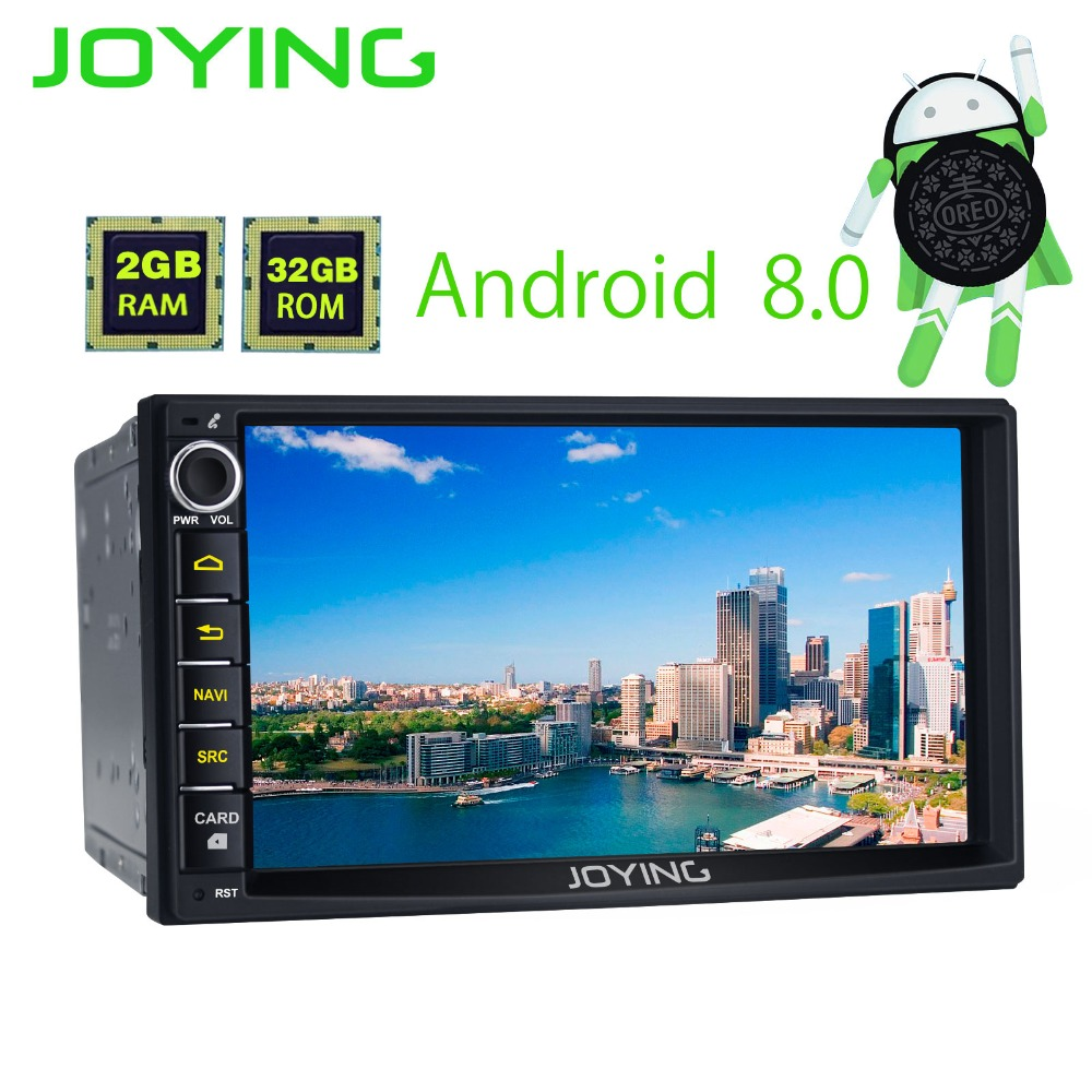 7JOYING Octa Core 2GB+32GB Android 8.0 Universal Car Radio Audio Stereo GPS Navigation Double 2 Din Tape Recorder Support OBD2