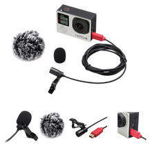 ESMIC-01G Lavalier Microphone Clip-on Omni-directional Condenser Mic for GoPro HERO 3 3+4 5 with Wind Muff VS SR-GMX1