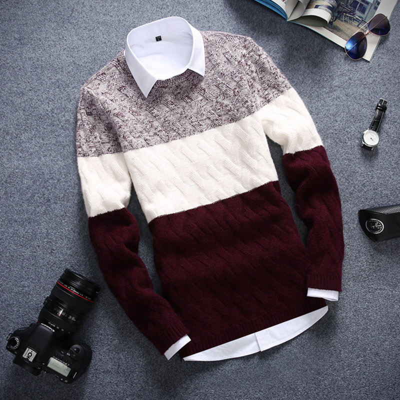 2019 Autumn Winter Casual Men's Clothing England Style O-neck Long Sleeved Sweater Thickening Mens Sweaters Pullovers