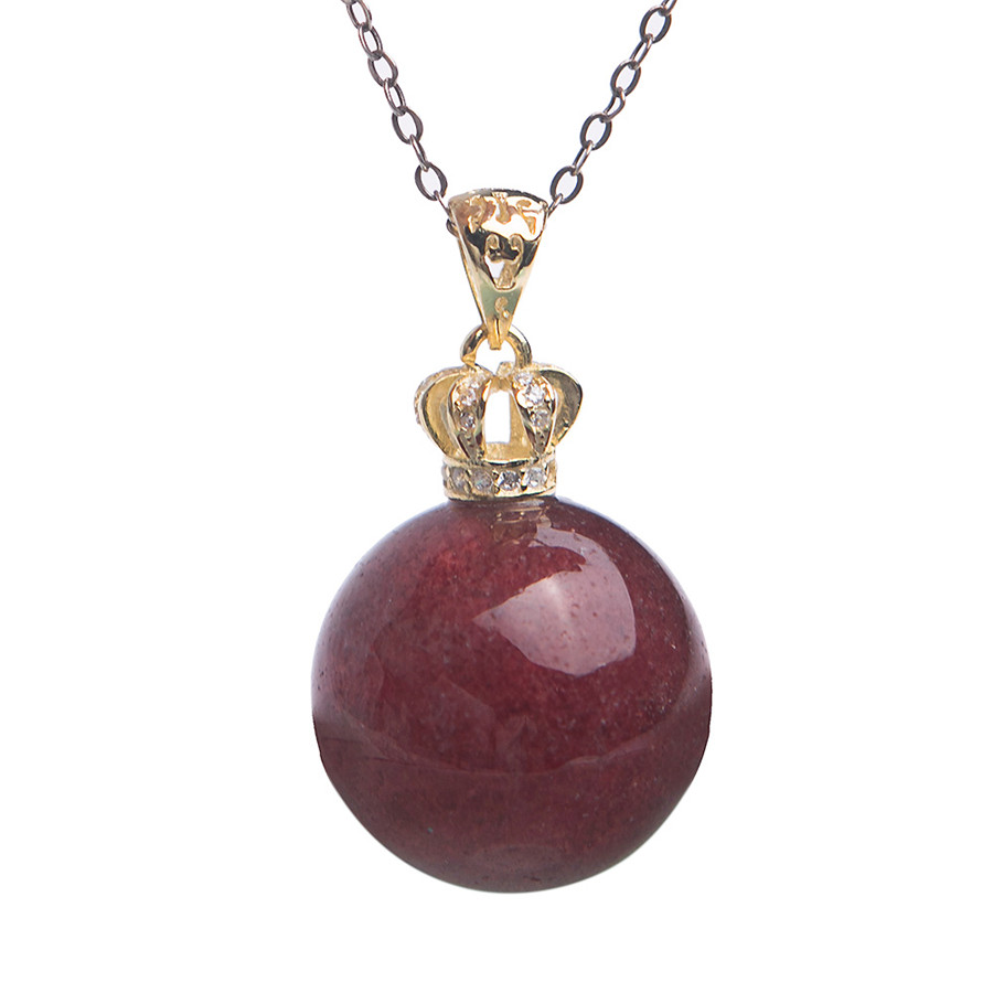 2018 Newly Genuine Natural Strawberry Quartz Crystal Bead Pendant Gold Plating Crown Women Lady Necklace Pendants Drop Shipping stylish rhinestoned water drop rose gold plating necklace