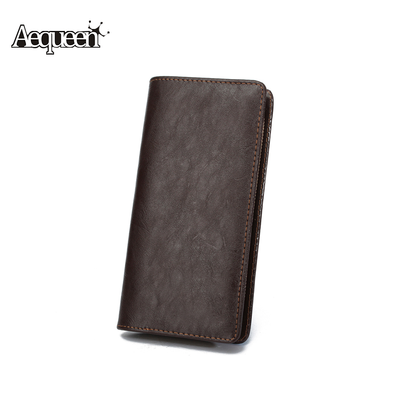 AEQUEEN Men Wallet Leather Long Wallets Zipper Coin Purse Male Notecase Business Card Holder Mens Clutch Pu Carteira Masculina