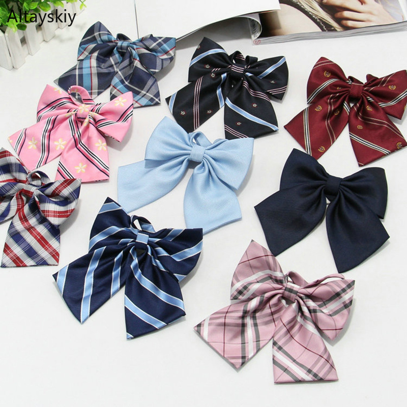 Ties Women Striped Printing Plaid Embroidery Kawaii Uniform Womens Bow Tie Students Simple Trendy Chic All-match Formal Bow-tie