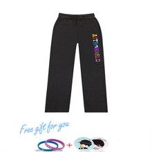 Kpop 100% Cotton Travis Scotts ASTROWORLD Women/Men Trousers Sweatpants Jogger Harem Pants Slim Fit Print Fashion Warm