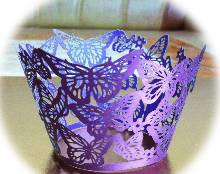 100pcs Freeshipping Cupcake Wrapper Laser Cut Wrappers Birthday Party Holders Wedding Decorations Purple Butterfly On Aliexpress