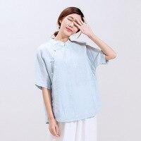 Female Summer Short Sleeve T shirt Cotton Linen Tea Chinese Wind Ethnic Cheongsam Stand Collar Loose Women