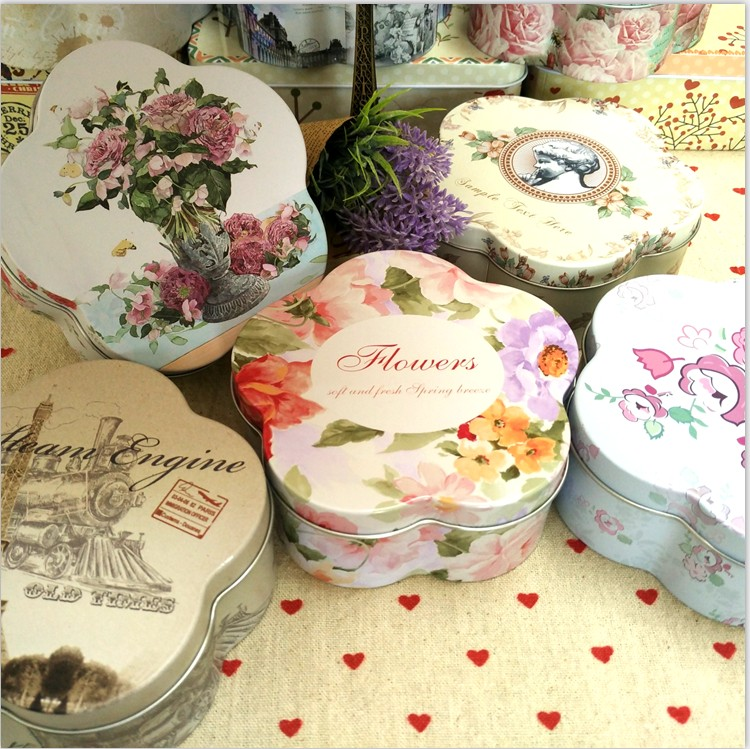 vintage storage tin pill case candy can fashion cookises biscuit tin box metal storage box jewelry box 10 design mixed