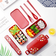 Microwave Lunch Box 2 Layer Japanese Flower Bento for Food Container Storage Portable School Picnic with Bag