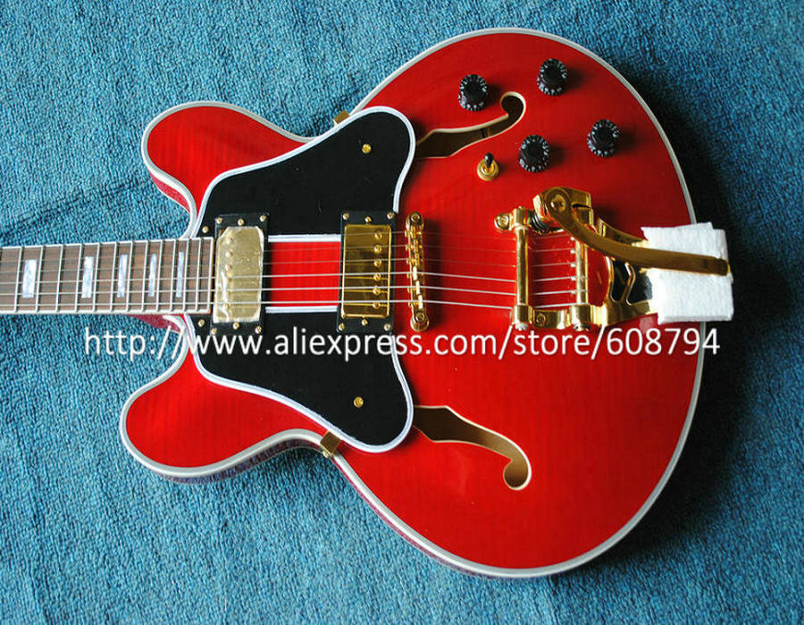 best selling custom shop red jazz guitar flame hollow electric guitar new arrival guitars high. Black Bedroom Furniture Sets. Home Design Ideas