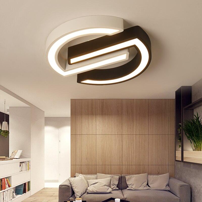 Modern led ceiling light bedroom fixtures residential black white AC85 265V overhead lights for living room kitchen ceiling lamp|Ceiling Lights| |  - title=