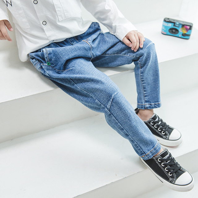 Spring Autumn New Cool Jeans Boys Children Baby Old Pants Denim Pants Tide 2-7 Ages Free Shipping Loose Straight Casual Solid s xl jeans casual loose denim pants 2018 new spring mid waist tassel wide leg jeans pants for women
