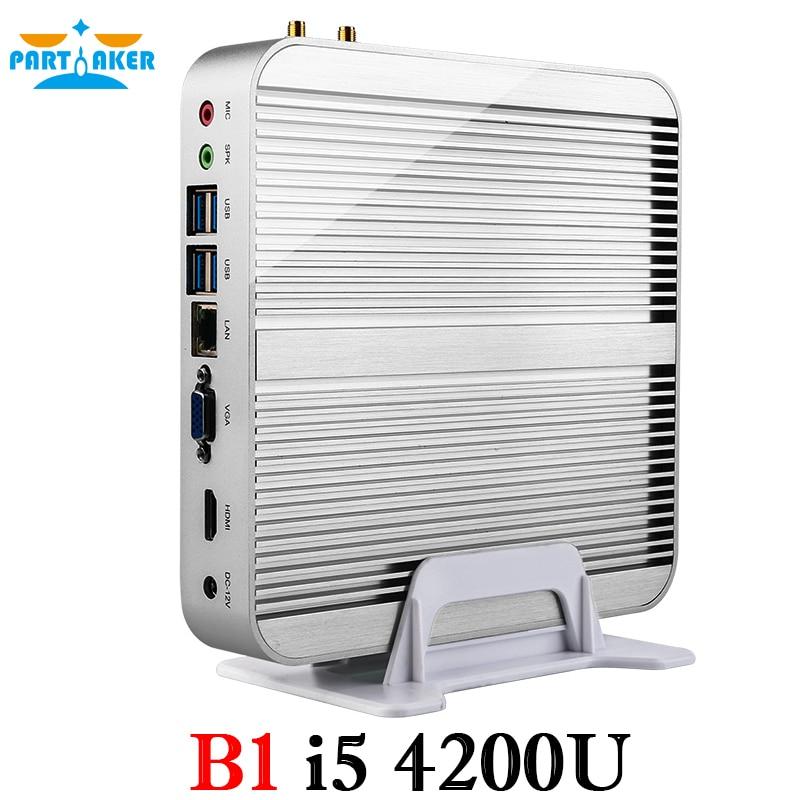I5 4200u Fanless Mini PC with Intel Core i5 4200U 1.6Ghz CPU Haswell Architecture SOC design aluminum chassis