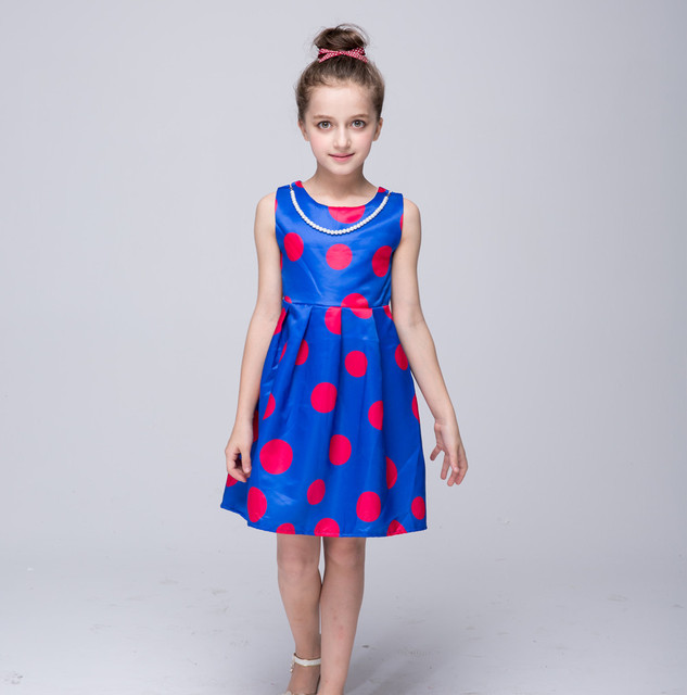 novatx girl dress nova brand polka fashion sleeveless kids dress for girls clothes children clothing girl party princess dress