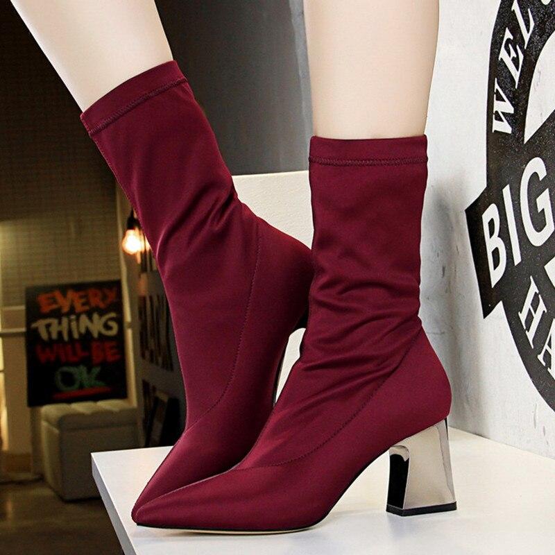 Red Gray deep Cortas Mujeres Moda wine Otoño 2018 Tacones apricot Zapatos Estilo Black De Gruesos Calcetín Mujer Botas Estiramiento Lycra Invierno Extraño nCRwgnUq