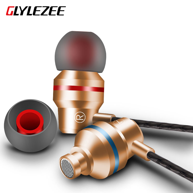 Glylezee G80 Metal In-Ear Earphone Anti-Sweat Stereo Super Bass With Microphone Headset for iPhone Xiaomi Android CellPhone sport original earphones headphone for iphone samsung xiaomi android in ear mic stereo music bass earphone headset anti sweat