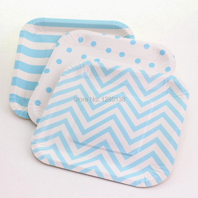 1200pcs Baby Blue Chevron Striped Dot Paper Plates Retro Party Disposable Square Plates for Wedding Table  sc 1 st  AliExpress.com & 1200pcs Baby Blue Chevron Striped Dot Paper Plates Retro Party ...
