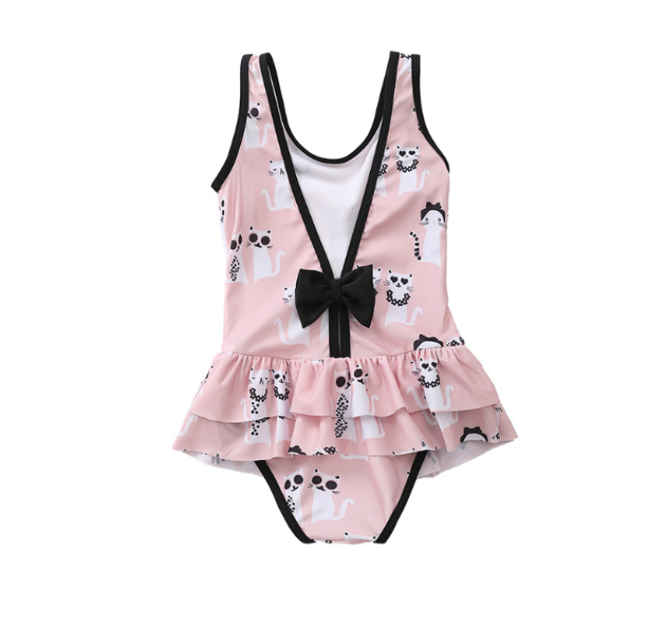 2019 New Swimsuit Girl's  Kids Baby Swimwear  One Piece Children Bodysuit Pretty Cat Monokini Swimsuit For Girl Beachwear