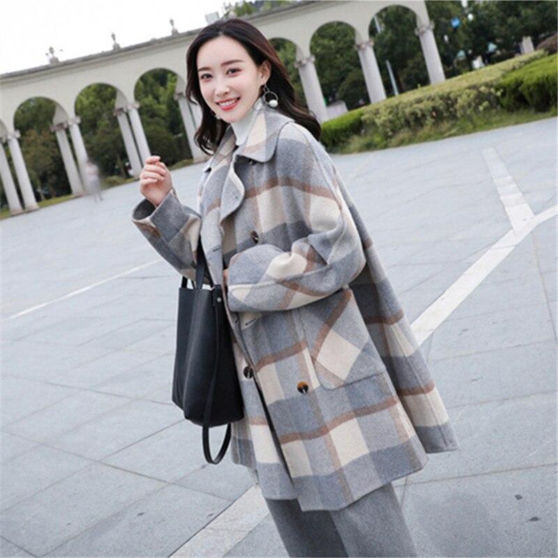 Mujer Estilo Caliente Abrigos Tamaño Coreano De Moda Cuadros Vintage wOPvTnq