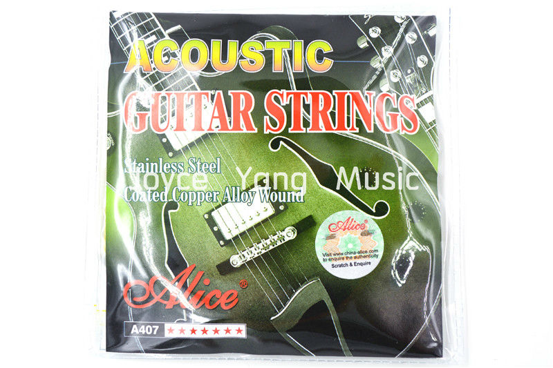 Alice A407-L Acoustic Guitar Strings Coated Copper Alloy Wound&Stainless Steel 1st-6th Strings