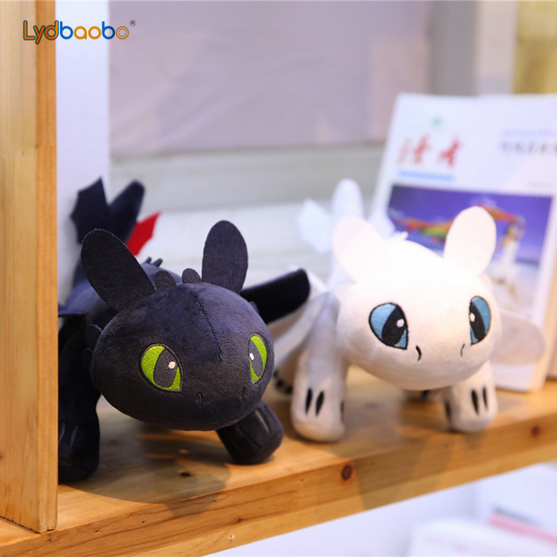 2019 How To Train Your Dragon 3 Plush Toy Kawaii Toothless Light Fury/Night Fury Stuffed Doll Gift For Kids Birthday Gift 35cm