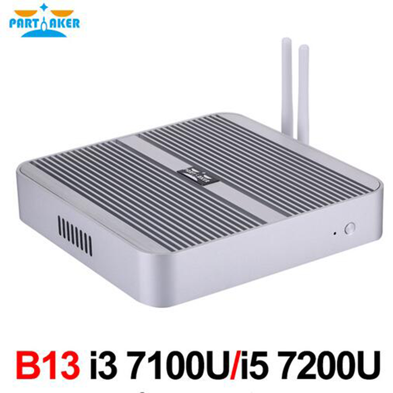Fanless Barebone I7 I5 I3 Mini PC Windows 10 Intel Core 4K HTPC Graphics 620 300M Wifi dual antennas Free Shipping Partaker B13 partaker b13 mini pc with 7th gen kaby lake intel core i7 7500u winows 10 linux ubuntu barebone fanless mini pc 4k htpc computer