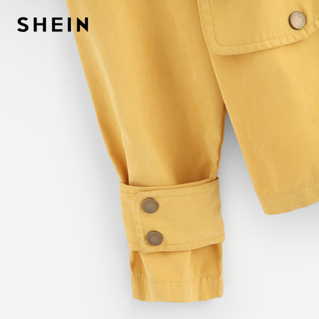 SHEIN Casual Yellow Button Pocket Front Stand Collar Single Breasted Plain Jacket Autumn Modern Lady Women Coat Outerwear 6