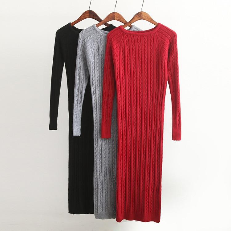 Nové Twist Dámské dlouhé svetrové šaty 2018 pružné sexy štíhlé Bodycon šaty Elastické Skinny Split Šaty krátké pletené šaty Vestidos
