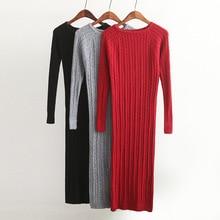 New Twist Women long sweater dress spring sexy slim Bodycon Dresses Elastic Skinny Split Dress Brief Knitted Dress vestidos