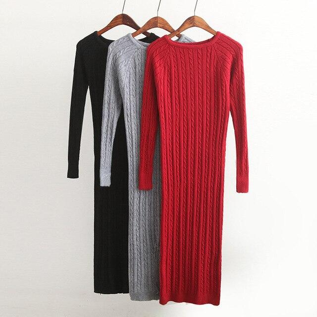 New Twist Women long sweater dress 2019 spring sexy slim Bodycon Dresses  Elastic Skinny Split Dress cd2bad1ab