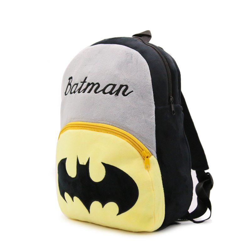 Super Hero Bat Man Pattern Baby Boys Girls Plush Backpacks 0 7Y Toddler Kindergarten School Bags