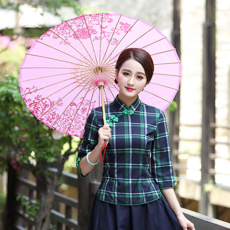 春夏の伝統的な中国スタイル唐スーツトップスハーフスリーブ改善レディースタンド襟チェック柄ブラウス2xl 3xl