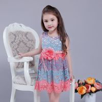 Summer Dresses For Girls Hollow Lace Baby Girls Dress Belt With Flowers Girls Party Dress Fight