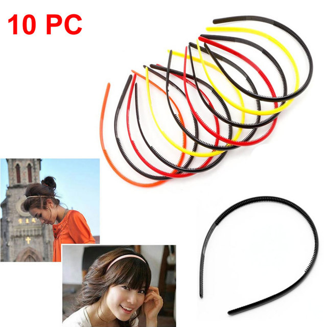10pcs 4mm Plastic Candy Colors Teeth Headband Skinny Thin Hair Band Hairpin  Hot 5a0bbca72ef