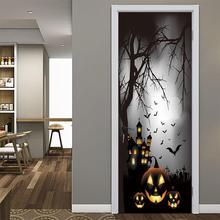 Halloween creative 3d door stickers horror manor pumpkin lamp personality wooden door home decoration wall sticker 77*200cm