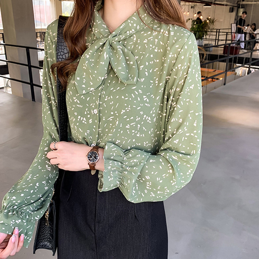 Women Blusas Femininas Fashion Floral Tops And   Blouses   Mujer Autumn Long Sleeve Femme   Shirts   Print Chiffon Womens   Blouses     Shirts
