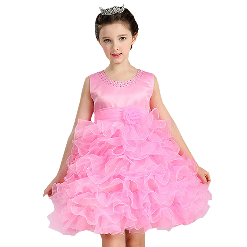Retail Trendy Fashionable Tiered   Girls   Evening Party Prom   Dress   Ruffled   Flower     Girl     Dress   With   Flower   LM8282