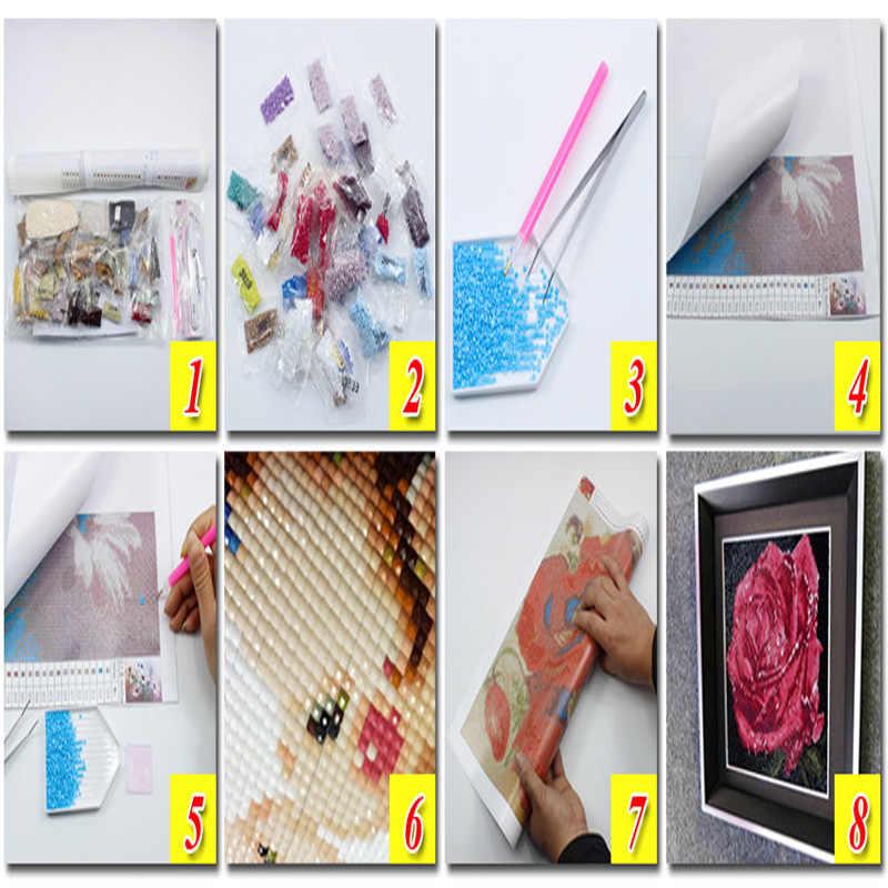 יהלומי רקמת בעלי החיים ריינסטון ציור קריסטל בית תפאורה 5D דפוס תפר צלב DIY יהלומי ציור כלב במראה