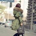 Zouwodi Nova Chegada 2016 casaco de inverno mulheres de longo manga longa verde do exército do algodão pele Real de pele de guaxinim mulheres jaqueta de inverno parkas