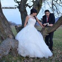Custom Made Romantic Applique A Line Tulle Wedding Dresses 2017 Gowns vestido de noiva DG0066