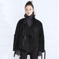 CS114 осень и зима 2016 новое поступление стоячий воротник завязывается дизайн длинный рукав Модное свободное короткое пальто Женская шерстяна