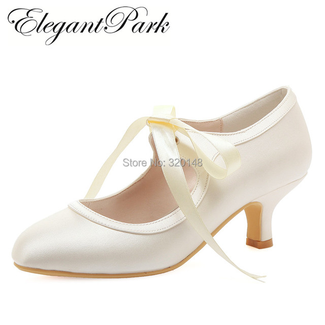 411a88183ab Women Wedding Shoes White Ivory Close Toe Mary Jane Mid Heel Lace-up satin  Bride Lady Prom Party Bridal Pumps Comfortable HC1803