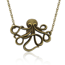 Vintage Steampunk Octopus Necklace Women Fashion Marine Life Pendant Jewelry Hip Hop Unisex Necklace Gift Free Shipping