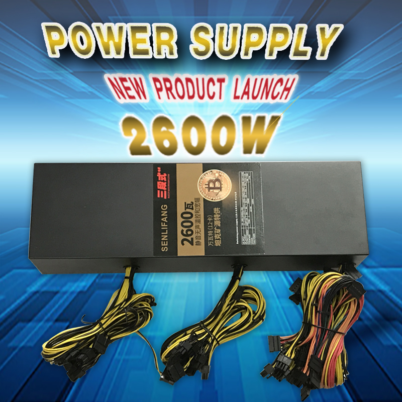 New and original Mining power supply 2600W  support 12 graphics card well tested  free shipping power supply for pwr 7200 ac 34 0687 01 7206vxr 7204vxr original 95%new well tested working one year warranty