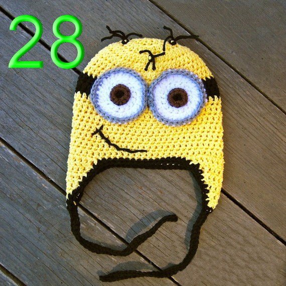 Add a yellow long sleeve shirt, blue overalls, black gloves and boots, and you're set to be a minion for Halloween. I might even make one for me, it's that cute!! These cute silly hats are getting me excited for Despicable Me 2, coming out next summer, yippee!