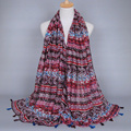 Women's printe geometric floral INDIA tassels bohemian viscose fashion winter shawls long muslim HIJAB scarves/scarf 10pcs/lot